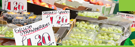 Photo of cost and weight signs on a fruit and vegetable stall